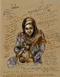 Molly Crabapple went to the Domiz refugee camp in Iraqi Kurdistan to record the stories of Syrians forced from their homes by war and suffering. Refugee Crisis, Refugee Week, Political Art, Political Events, Molly Crabapple, A Level Art Sketchbook, Syrian Refugees, Social Art, Gcse Art