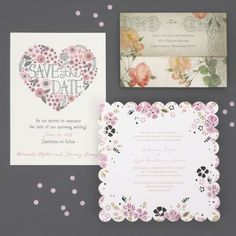 Stylish floral invitations and Save the Dates set the perfect tone for romantic spring and summer weddings.  #floralwedding #weddinginvitations #letterpress #sealnsend #lasercut