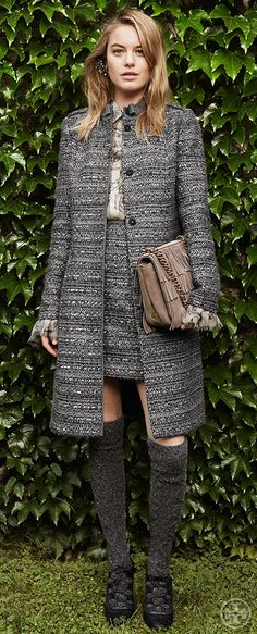 Look sharp in a tailored tweed overcoat — with a mini to match | Tory Burch Fall 2014