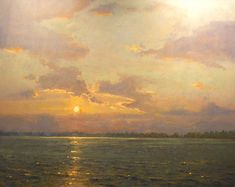 """Harkers Island Sunset"" oil painting by Roger Dale Brown, Nashville-born contemporary plein air artist"