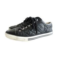 5d7518607336 CHANEL PARIS Black quilted logo tennis shoes sneakers