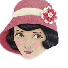 20s Glamour Girl Fabric Brooch Felt Brooch Art Brooch by yalipaz, $22.00