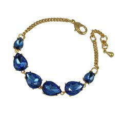Seduction Teardrop Sapphire Blue Crystal Gold Tone Fashion Bracelet