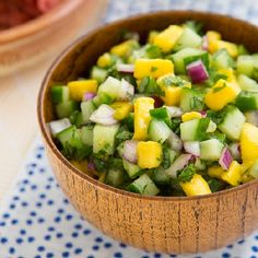 Cucumber Mango Salsa is the perfect salsa for tomato-haters. It's sweet, refreshing, and a little bit spicy.