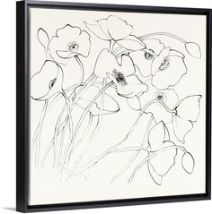 """Black Line Poppies II Wall Art"" by Shirley Novak. Find this floating framed canvas and more at GreatBIGCanvas.com"