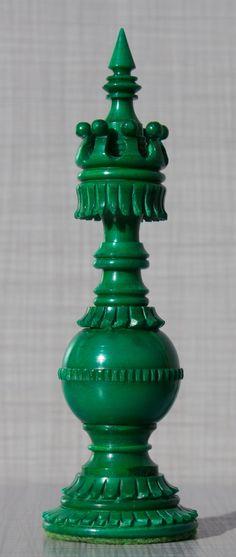 Open Head Bishop Green Camelbone Chess Pieces
