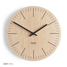 Wooden wall clock - modern minimal design - home decor - natural wood- large wall clock - handmade - eco materials Wall Clock London, Wall Clock Numbers, Oak Plywood, Wall Watch, Wall Clock Design, Wall Clock Decor, How To Make Wall Clock, Modern Clock, Wood Clocks