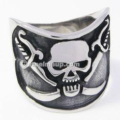Stainless Steel Pirate Cross Sword Skull Men Biker Ring