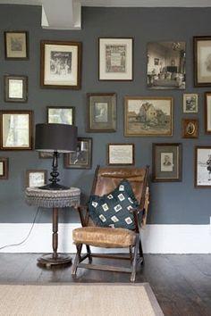 grey bedroom - Dark grey feature wall with photos