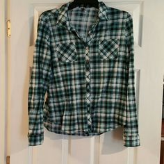 Plaid shirt Blue,white,black plaid shirt. Vanity Tops Button Down Shirts