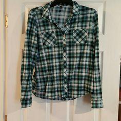Plaid shirt Blue,white,black plaid shirt. Vanity Tops Button Down Shirts