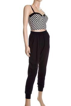 Stripe bra crop top & black pants