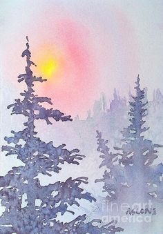 Winter Mist Painting by Teresa Ascone - Winter Mist Fine Art Prints and Posters for Sale You can do this with colored pencils! Get a set of 48 Aurora colored pencils for only $10! http://aurora-artsupplies.com