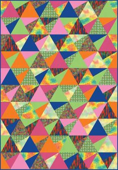 """Stereo"" quilt designed by Jaybird Quilts. Features Kona Cotton and Vivid. Bright colorstory."