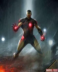Iron Man card art for Marvel War of Heroes card game by Francesco Mattina