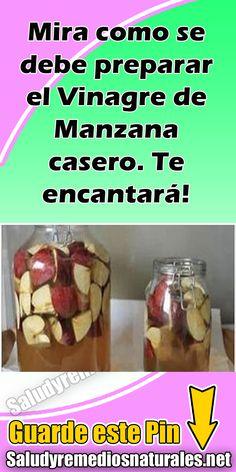 Mira como se debe preparar el Vinagre de Manzana casero. Te encantará! #Salud #Prepara #Vinagre #Manzana #Receta #Vidasaludable Healthy Smoothies, Healthy Drinks, Healthy Tips, Healthy Recipes, Kombucha, Fitness Diet, Health Fitness, Bebidas Detox, Veggie Tales