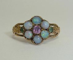 Delightful Hand Engraved Victorian Opal, Amethyst, & Emerald Ring in 15ct Yellow Gold