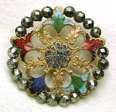 Antique French Enamel Button Pierced Floral Leaves w Cut Steel Border | eBay