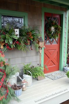 Rustic aluminum containers on the door, porch, and stairs offer casual Christmas appeal when filled with herbs and bright accents, such as red amaryllis blooms and berries. Description from pinterest.com. I searched for this on bing.com/images