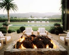 Outdoor fire pit in Napa Valley designed by Hillary Thomas