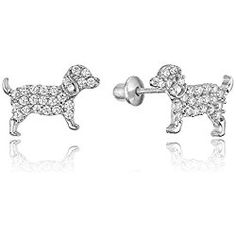 Sterling Silver Rhodium Plated Puppy Dog Cubic Zirconia Back Baby S Earrings