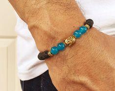 Pulsera de Energía y Alegría. Pulsera de Piedras de Lava (Basalto) Y Aguamarina Azul. Pulsera con imagen de Buda. Protección, Calma, Coraje