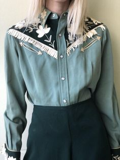 Western outfit / California Ranchwear, INC. / Vintage Western Wear / Nashville Style / Sage Green Gabardine Fringe Outfit Western outfit / California Ranchwear, INC. Vintage Western Wear, Vintage Cowgirl, Cowgirl Bling, Vintage Wear, Street Style Outfits, Fashion Outfits, Fashion Trends, Ladies Fashion, Western Outfits