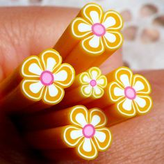 Yellow Flower Polymer Clay Cane Fimo Cane (Large / Big) Nail Art Nail Deco Scrapbooking