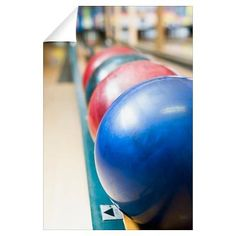 Bowling balls on rack Wall Decal from Cafe Press $22 - Luke's bowling obsession