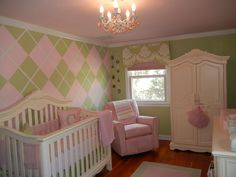 love the argyle, probably would do grey instead of green though. I would love that look for a little girls room!