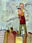En los hombros de papá (Imaginarium 2003), Evelyn Daviddi, ilustradora. Todo se ve bonito subidos encima de papá. Libro de emociones.