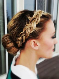A bun with braided #bandHairstyle