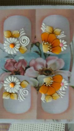 Nail Art Stickers, Nail Decals, Nails Decoradas, Daisy Nails, Manicure Y Pedicure, One Stroke Painting, Nail Envy, Toe Nail Designs, Foto Art