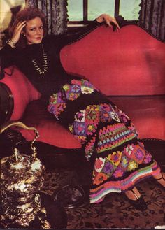 70s Vintage Pattern Crochet Granny Square Maxi Skirt pdf Pattern
