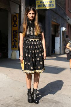 via fashionologie.com  Manoush top and skirt, Altuzarra boots, Lulu Frost bracelet (via Jetworthy)