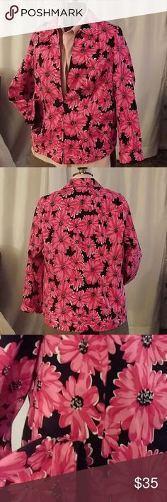 Laura Ashley plus size denim jacket , fully lined Vibrant designer jacket is 97% cotton 3% spandex with a full lining. Center of flowers are embellished with clear beads on both front and and back. Two front pockets. Buttons on sleeves, with a zipper front. Jacket cut like a classic denim jacket. Jacket in like new condition. No rips stains or signs of wear. Laura Ashley Jackets & Coats Jean Jackets