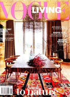 Rugs sewn together to make one big rug. Vogue Magazine.