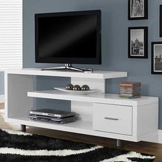 Monarch 60 in. Horizontal/Vertical Etagere / TV Console - Life is way more fun with you have options. Thankfully, the Monarch 60 in. Horizontal/Vertical Etagere / TV Console gives you plenty of room to. Home, Living Room Tv, All Modern, Table Tv, Entertainment Center, Furniture, Tv Shelf, Tv Console, Modern Tv Stand
