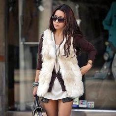 REDOPIN  Faux-Fur Knit Vest