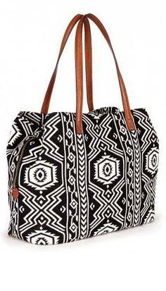 Roomy black & white tribal printed tote bag