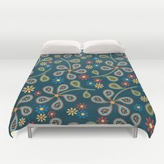 Paisley Flowers Duvet Cover by DAW Surface Design - $99.00