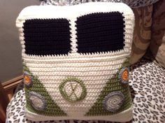 VW Campervan Crochet Campervan Cushion / Pillow by PoodleAndPigPig
