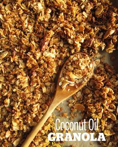 Yummy Homemade Granola - rolled oats baked with coconut oil, maple syrup, spices, etc.