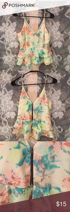 ASTR Floral Zip Back Tank Beautiful pastel colors and adorable black zipper in the back. Adjustable straps. The cut is so flattering on the chest area! In perfect condition. Size Small, brand is ASTR. From Nordstrom. Adorable with a high waisted black pencil skirt. Free People Tops Crop Tops