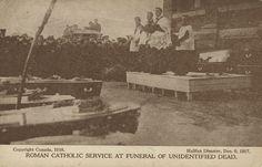 Roman Catholic service at funeral of some of the unidentified dead. Halifax Explosion, Roman Catholic, Nova Scotia, Funeral, Image, Catholic
