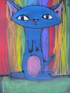 My example on tan paper I like the impact of the pastel on black My graders created these graphic cats with gel glue on b. Chalk Pictures, Wordless Picture Books, Gel Glue, Imagination Art, Trippy Painting, Great Paintings, Blue Cats, Chalk Pastels, Black Paper