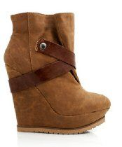 Parlane-06 Camel Fux Suede Wedge Platform Ankle Booties High Top Heel Boot Women Shoes