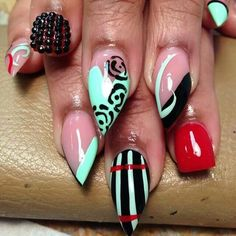 Black and red stiletto nails
