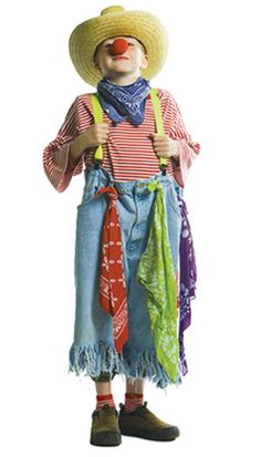 You'll look great in this rodeo clown costume! First take an over sized pair of jeans and use a pair of scissors to cut fringes along the cuffs. Don't forget a colorful pair of suspenders to hold those pants up! Pair the pants with an over sized t-shirt. Add some rodeo flare with bandanas tied to your belt loops and around your neck and a straw hat. Top everything off with some face paint and a clown nose! By savers.com
