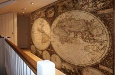 This amazing ideas using nautical map to be a decorative wallpaper to decorate your house, also it can be look awesome if place it in large space of living room or bedroom. Nautical Kitchen Wallpaper, Coastal Wallpaper, Beige Wallpaper, Striped Wallpaper, Wallpaper Decor, Wallpaper Ideas, Antique World Map, Vintage World Maps, Hello Kitty Bedroom